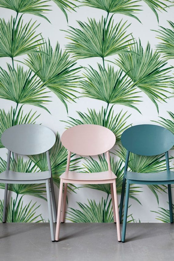 Palm leaf modern wallpaper for a jungle decoration