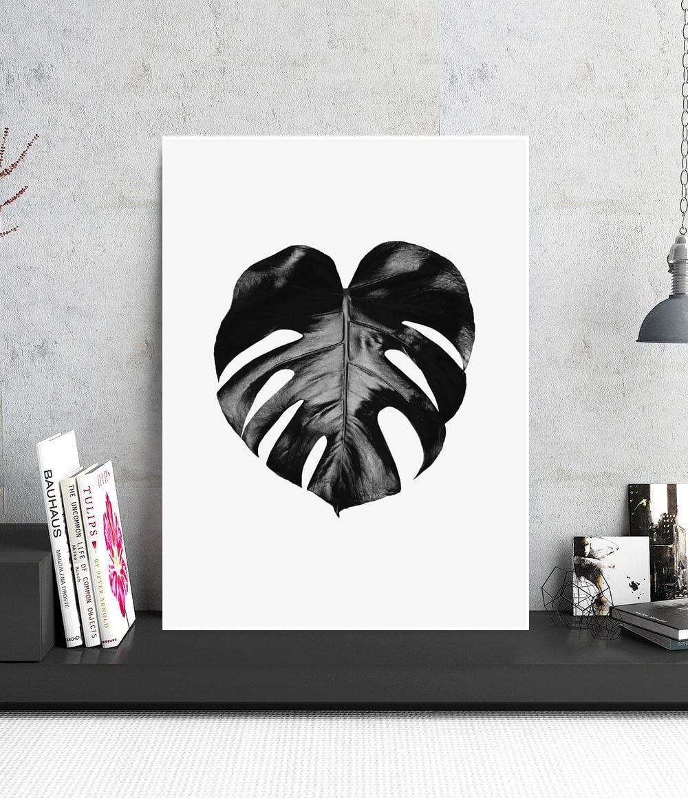 Tableau design aluminium de la feuille de monstera en version noire