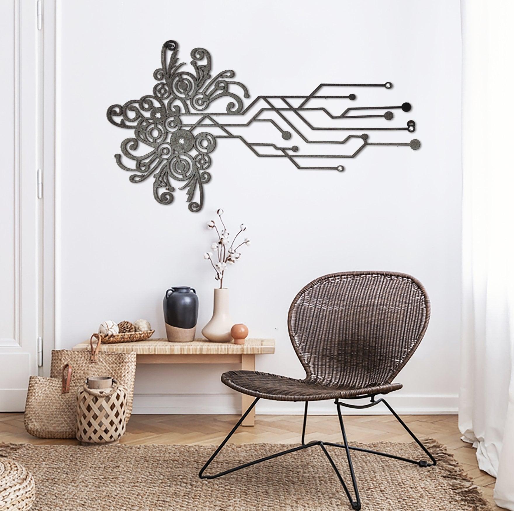 Décoration murale métallique futuriste pour une touche stylée dans un salon moderne