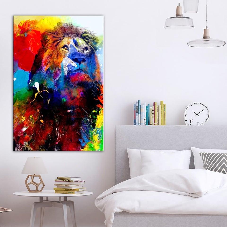 Tableau de lion multicolore et pop art pour une décoration murale sauvage