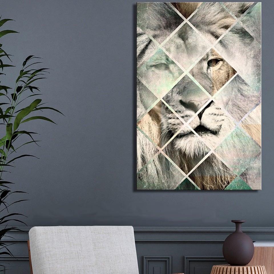 Tableau moderne et imprimé de lion en version scandinave pour votre décoration murale