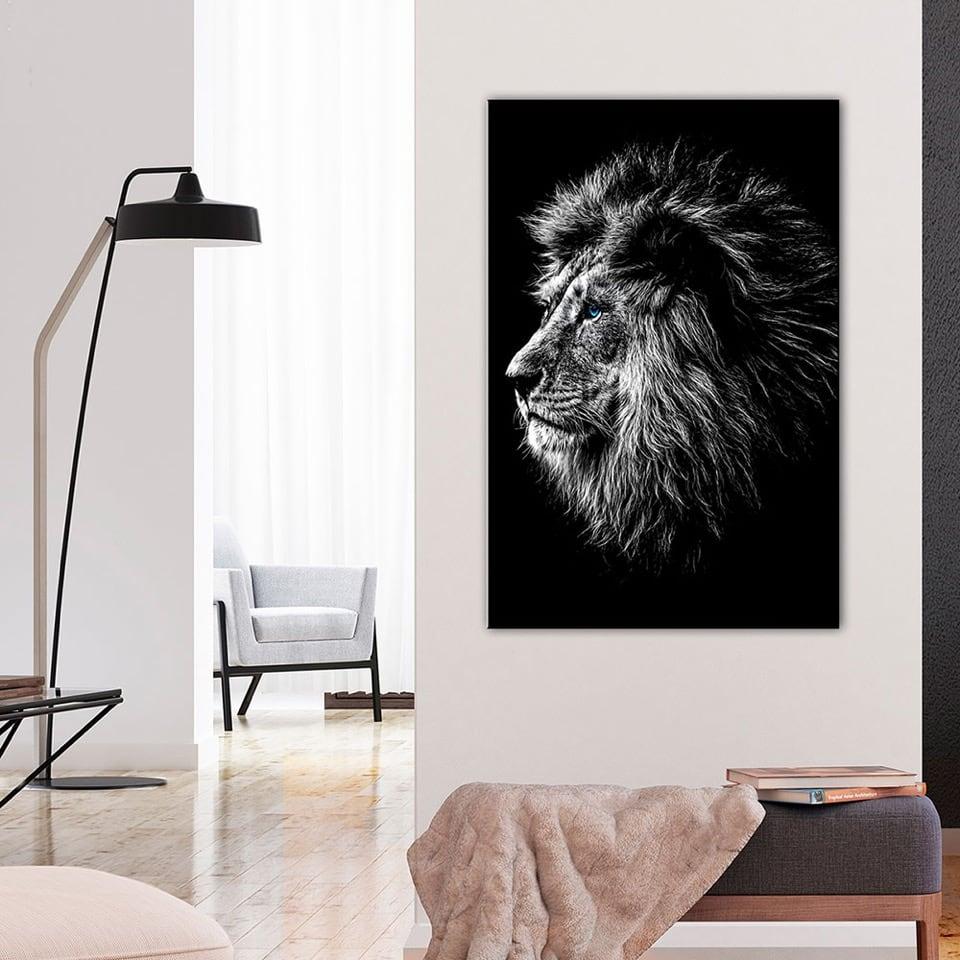 Tableau de lion en noir et blanc avec les yeux bleus pour votre déco murale