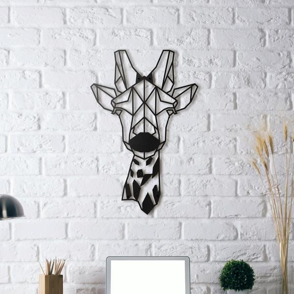Giraffe metal wall decoration for an animal interior