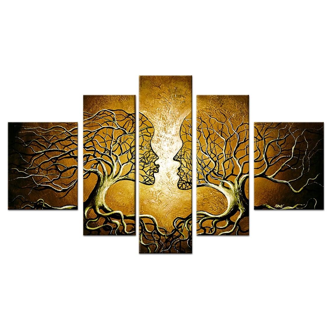 Toile moderne contemporain en peinture d'arbre nature pour votre intérieur