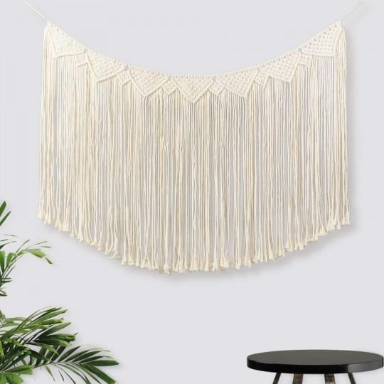 Big Large wall macrame in beige for a boho chic trend interior decoration