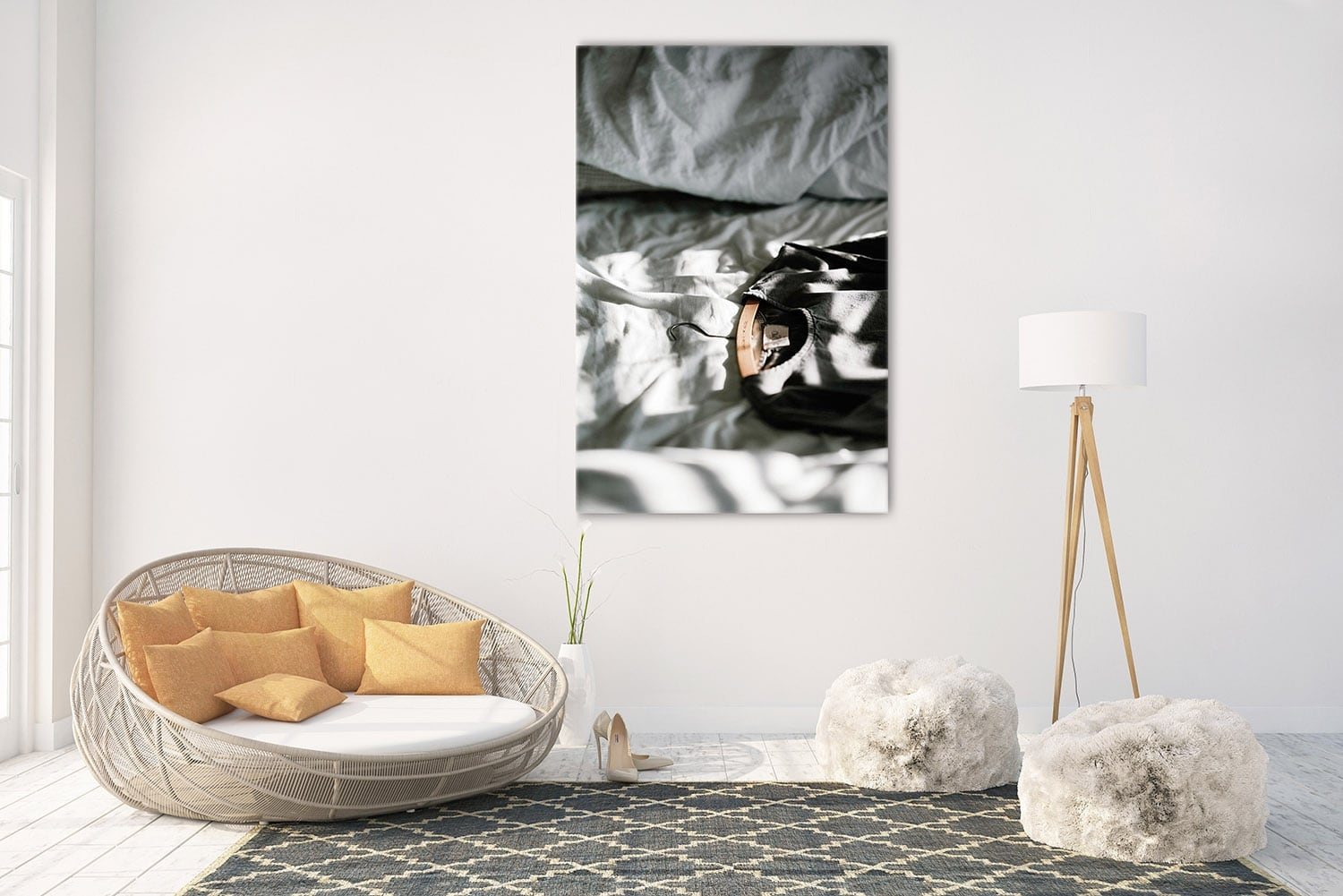 Aluminium art photo of a bed with clothes to create a modern wall decoration