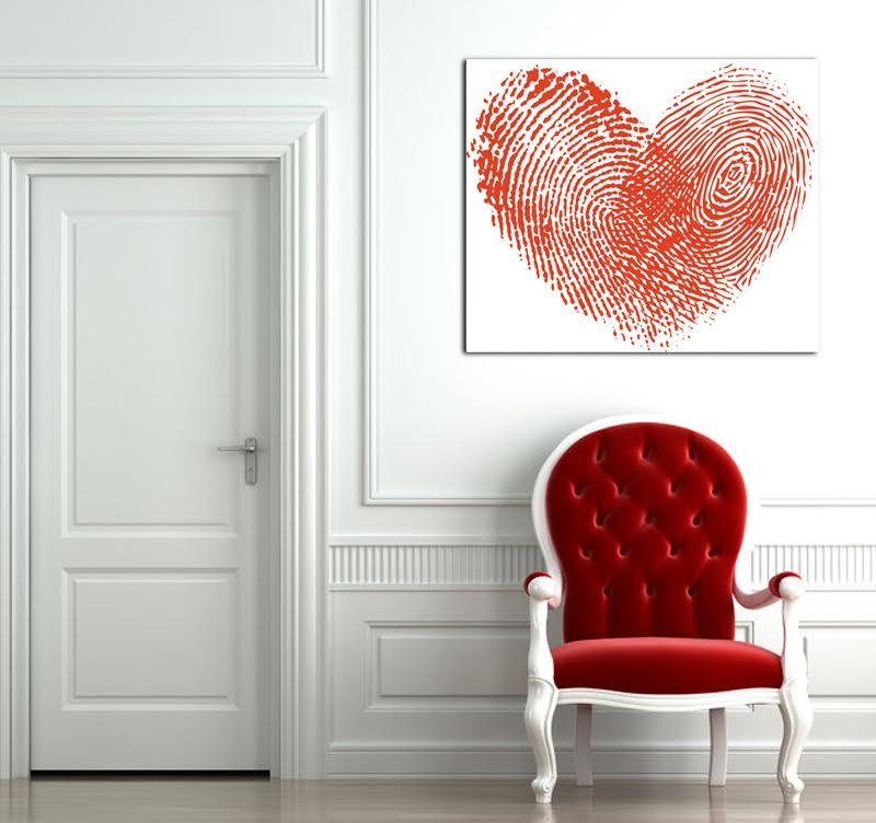 Notre tableau déco moderne d'un coeur en empreintes digitales