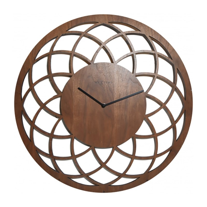 Modern wall clock made by wood with a dreamcatcher style