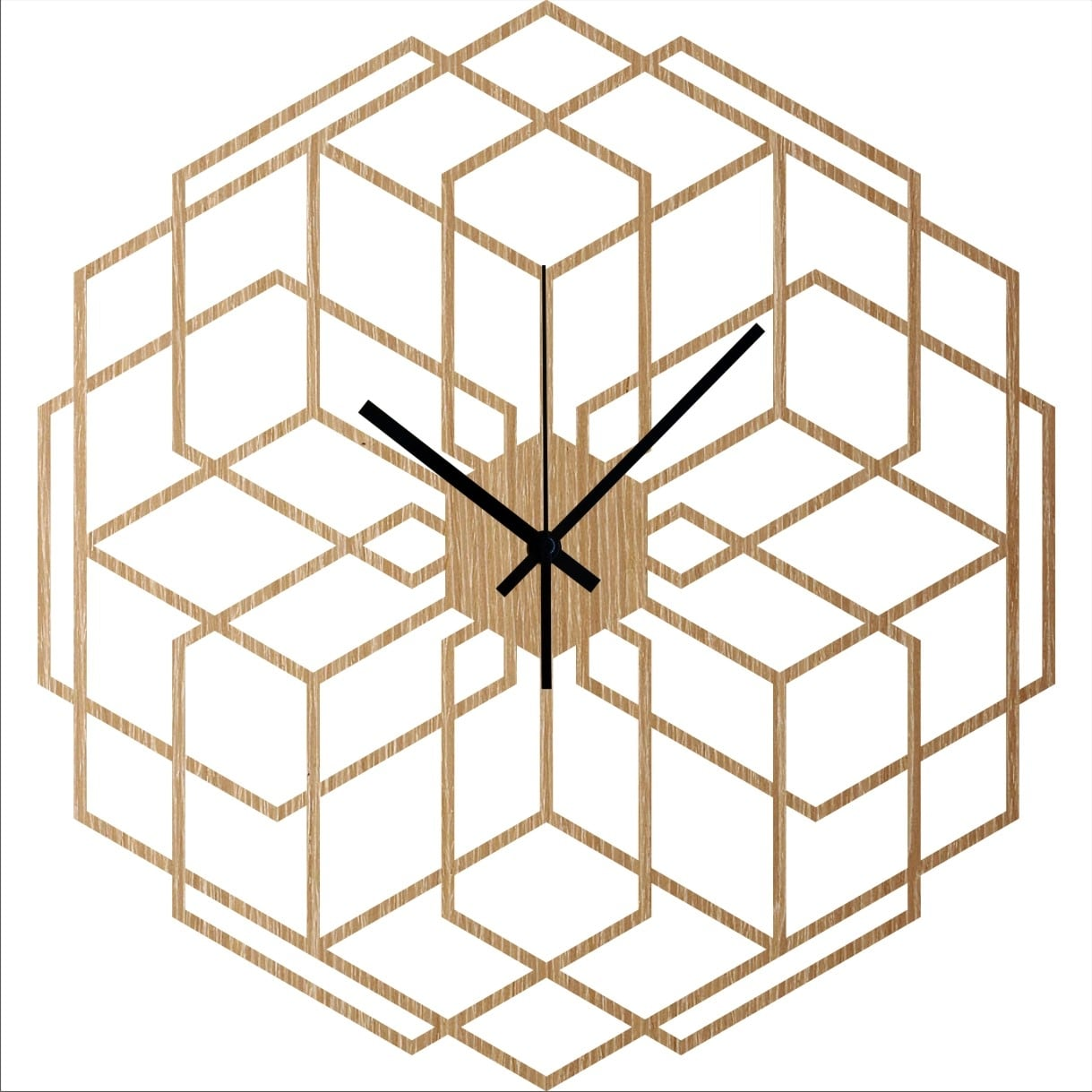 Hexaflower wood wall clock for a trendy interior