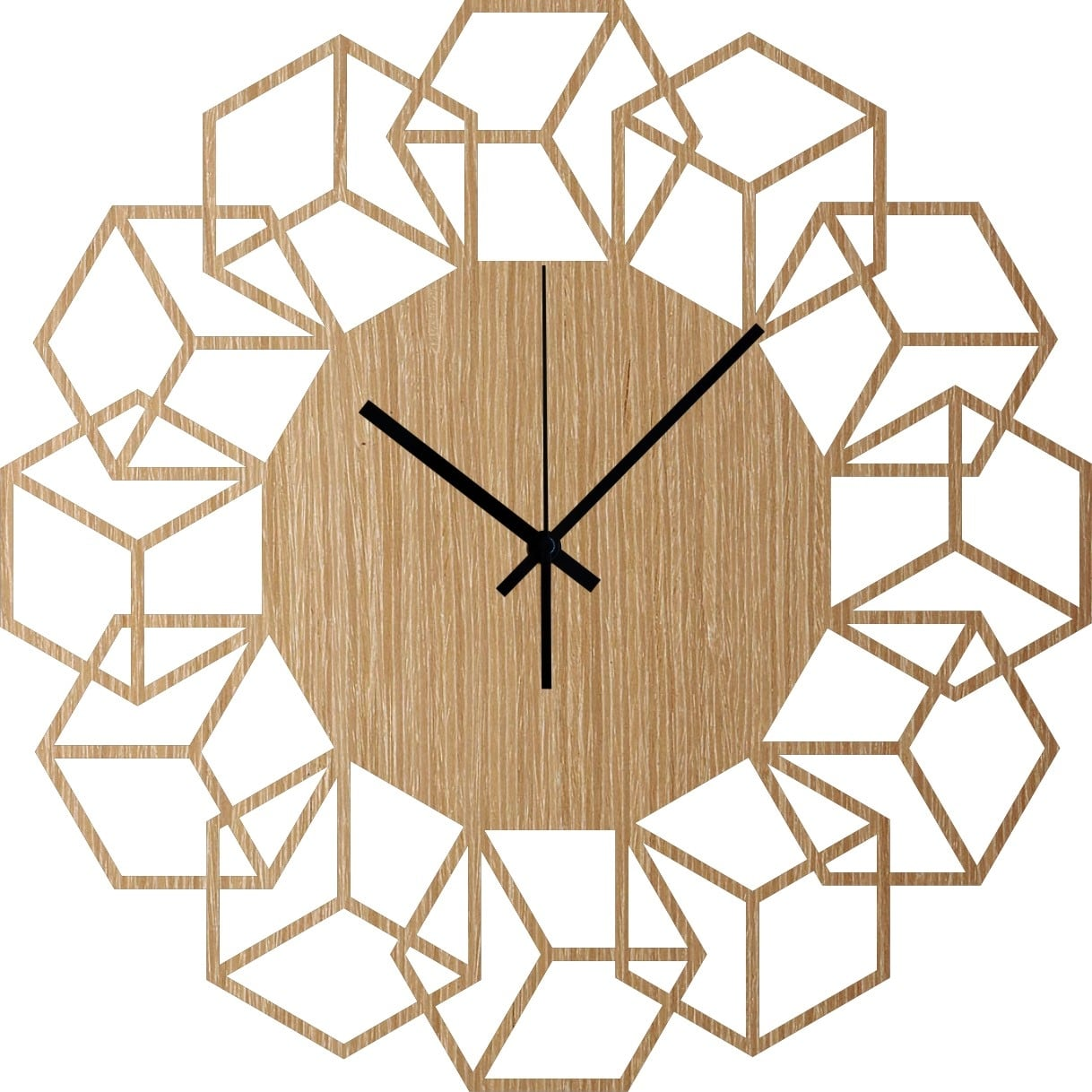 Trendy wood wall clock with a flower design for interior