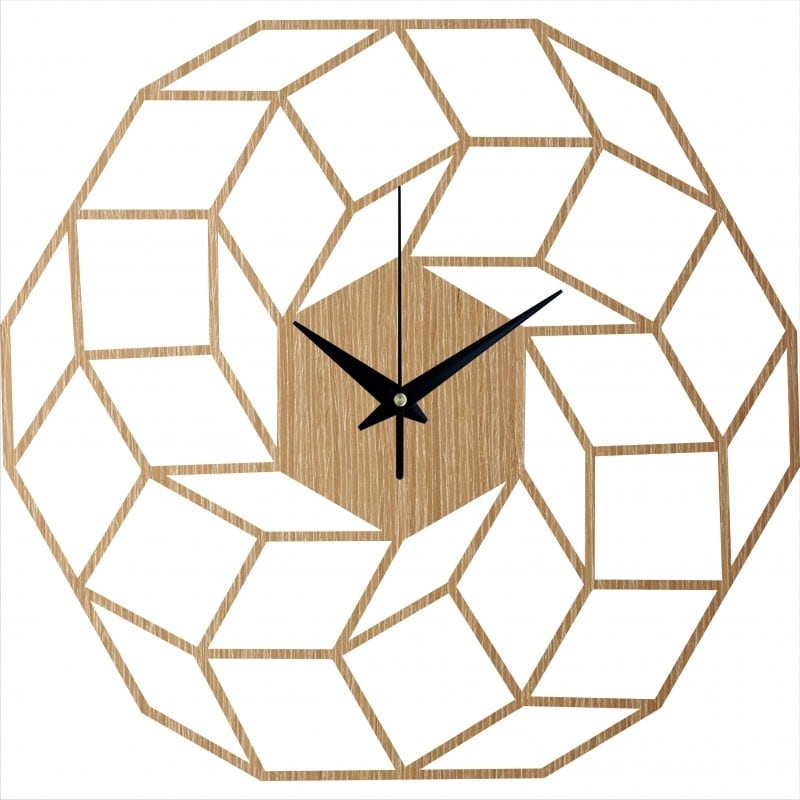 Dreamcatcher wooden wall clock for a trendy interior