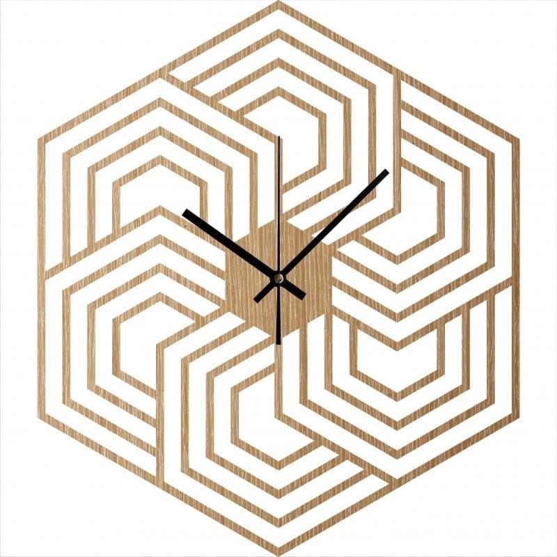 horloge murale bois hexagon pour une déco murale design