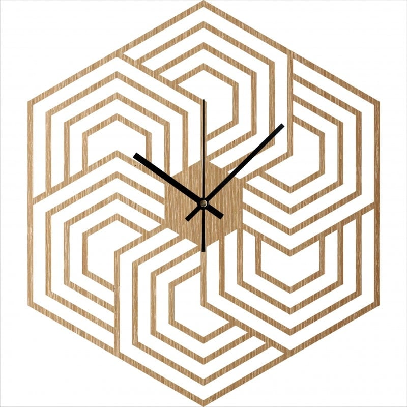 Hexagon modern wood wall clock for a trendy touch
