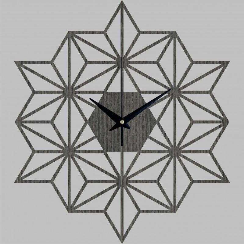Horloge murale bois snowflake pour une déco murale design
