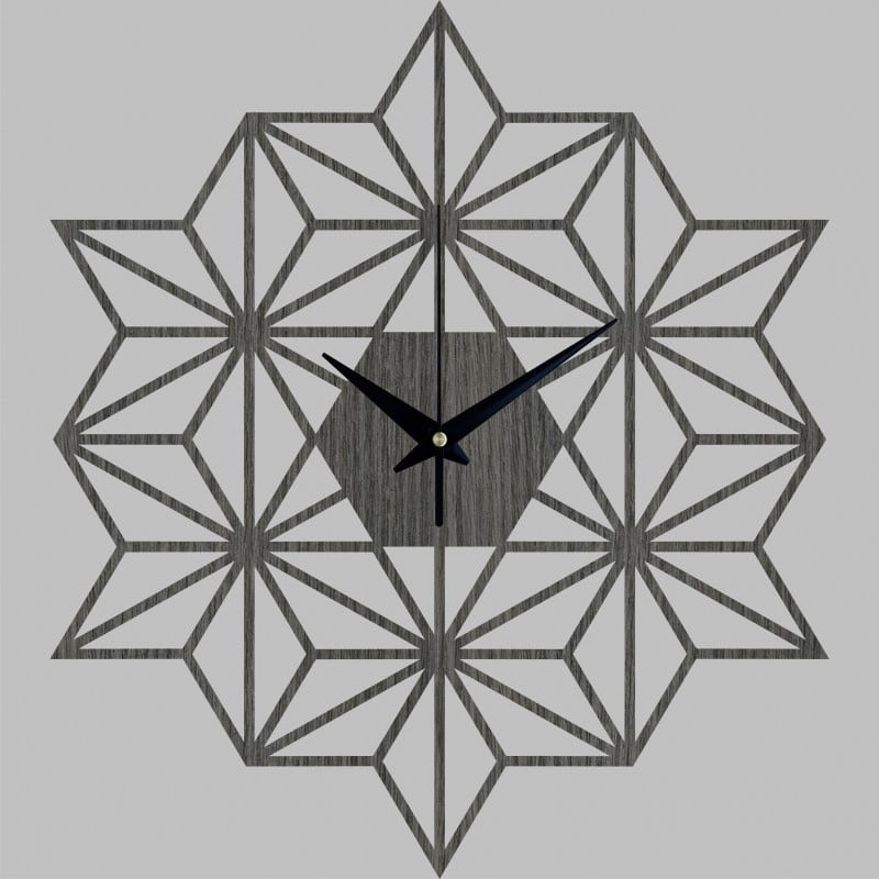 Snowflake wooden wall clock for a modern interior