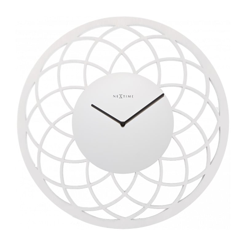 White decorative wall clock of a dreamcatcher for a trendy interior