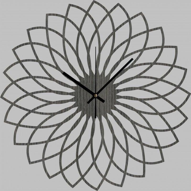 Horloge murale bois couleur graphite en forme de spirogrpahe pour vos murs