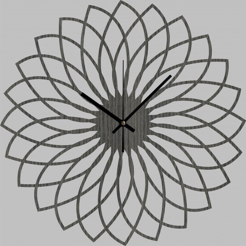 Spirograph wood wall clock for a design kitchen or living room