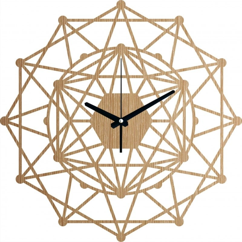 Wood wall clock for a trendy interior with a kaleidoscope design