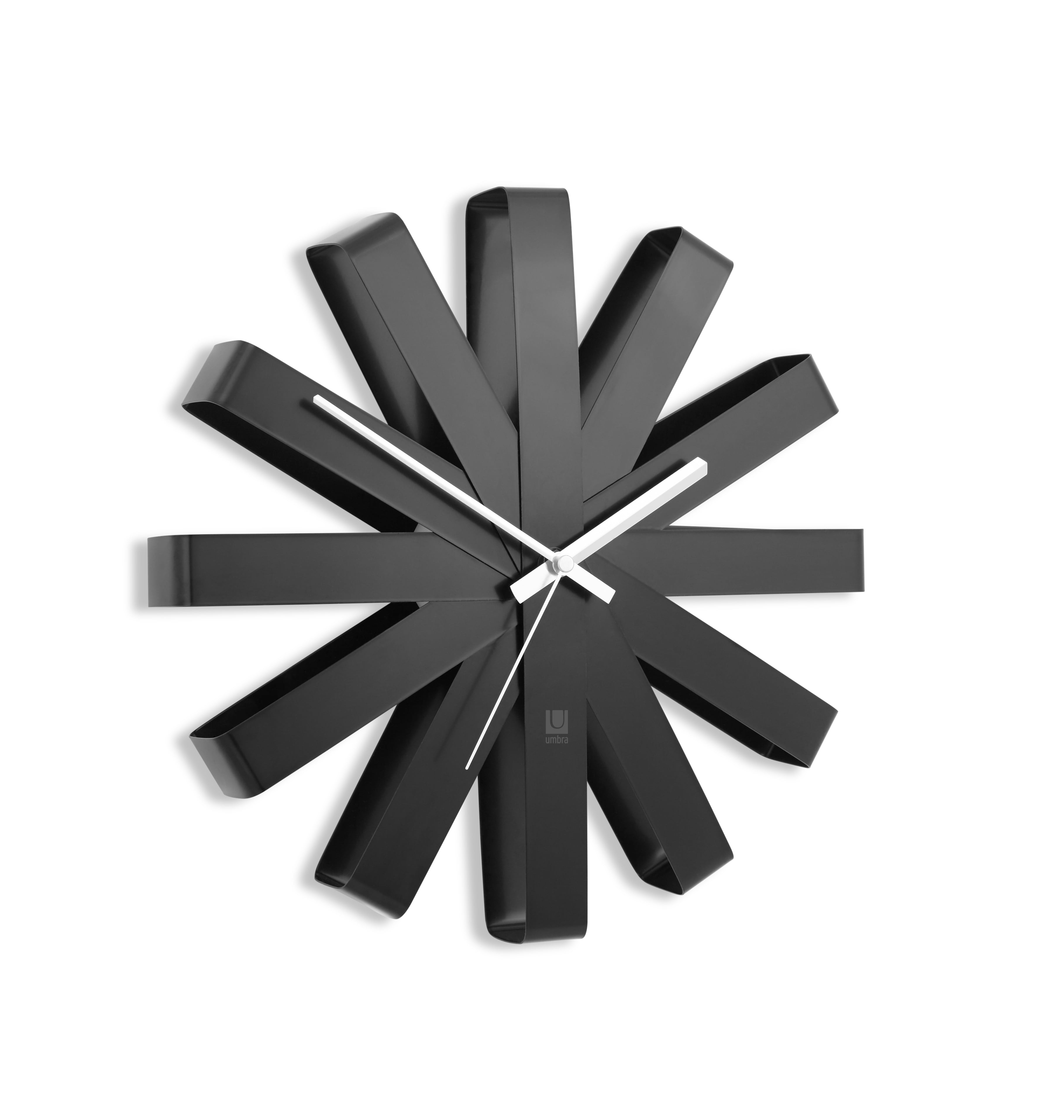 Modern wall clock in black with a ribbon style