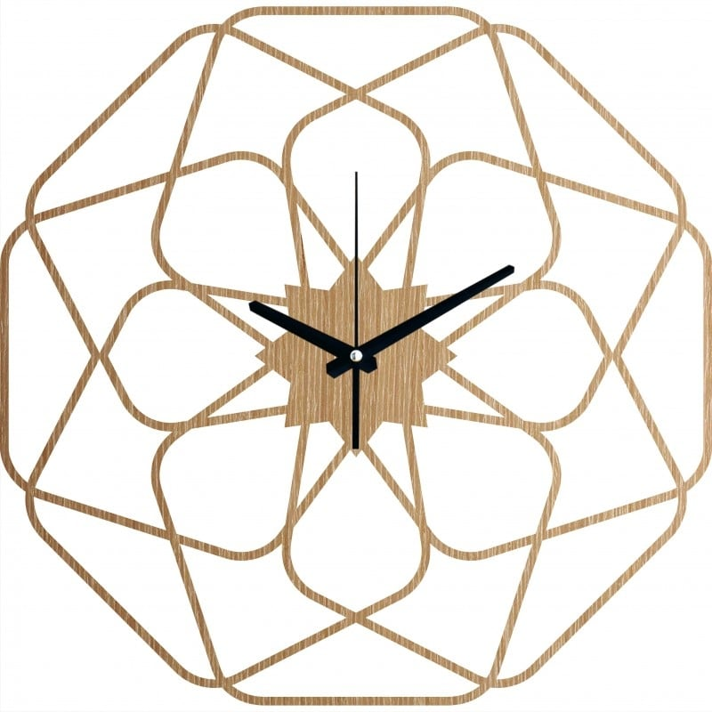 Star design wood wall clock for a trendy interior