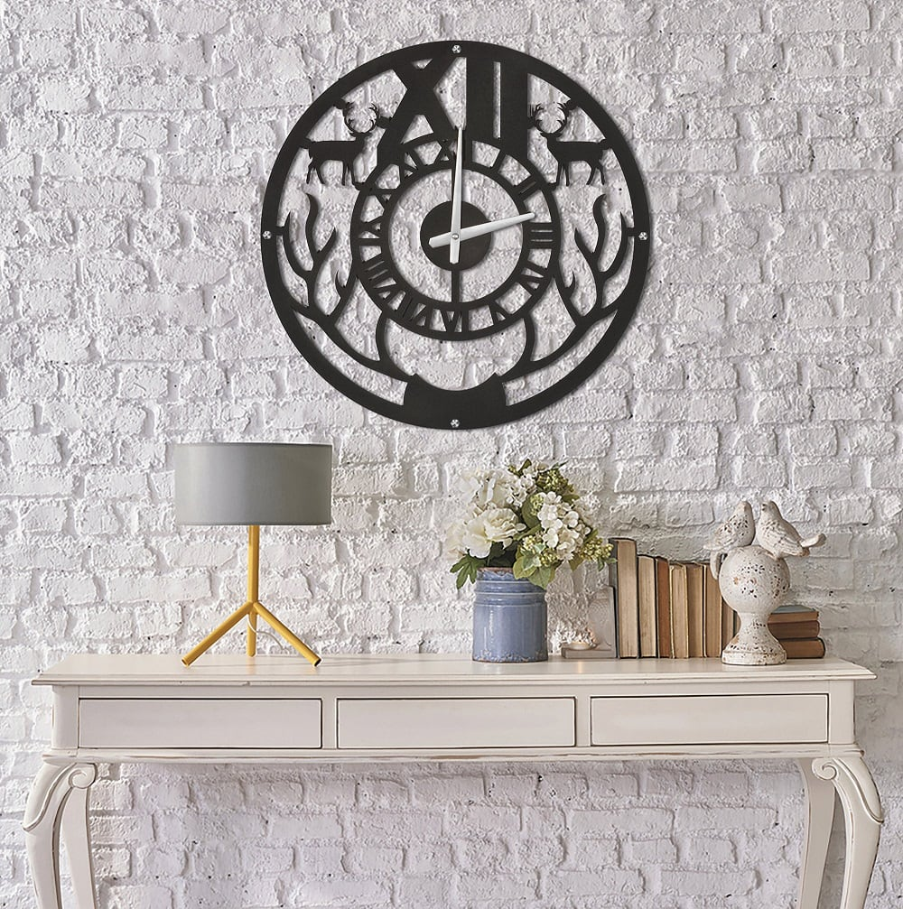 Wild metal wall clock for interior design