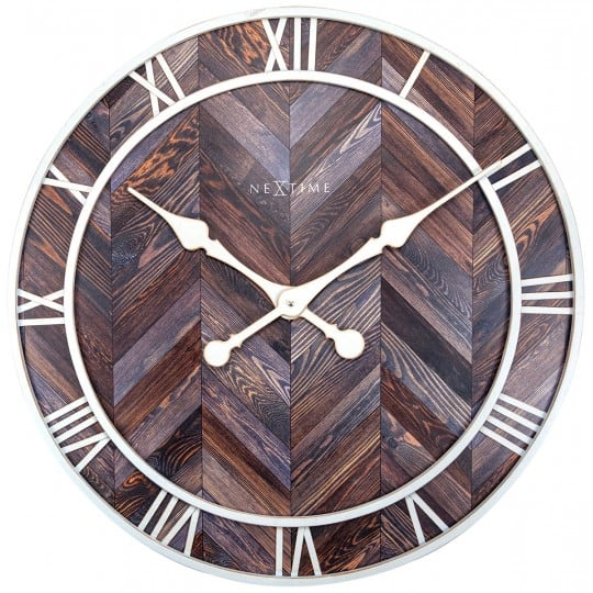 Wood and white wall clock for a design wall decoration