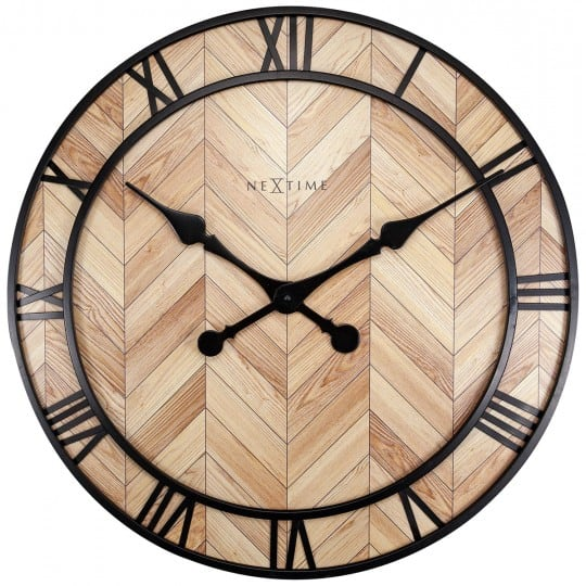 Wooden and metallic wall clock for design interior