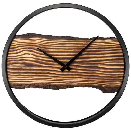 Modern wall clock with a wood touch and a black frame