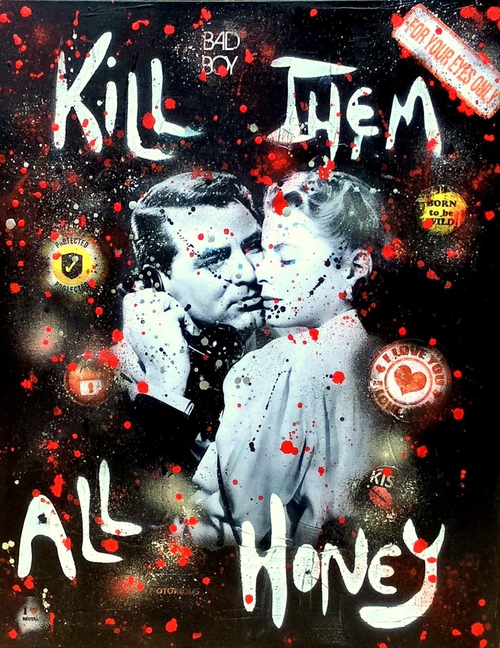 Toile peinture moderne de l'artiste Rose-Agathe sur le film Notorious de Alfred Hitchcock