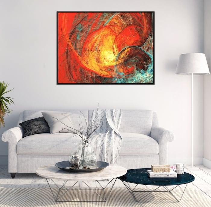 Tableau abstrait inferno rouge pour une décoration murale tendance