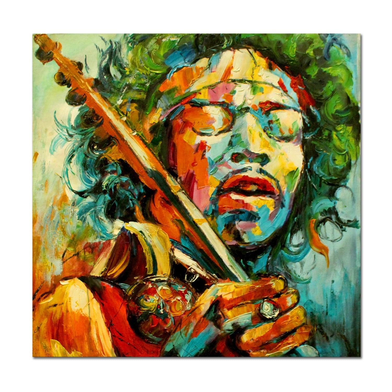 Toile peinture à l'huile contemporaine de Jimi Hendrix en couleur