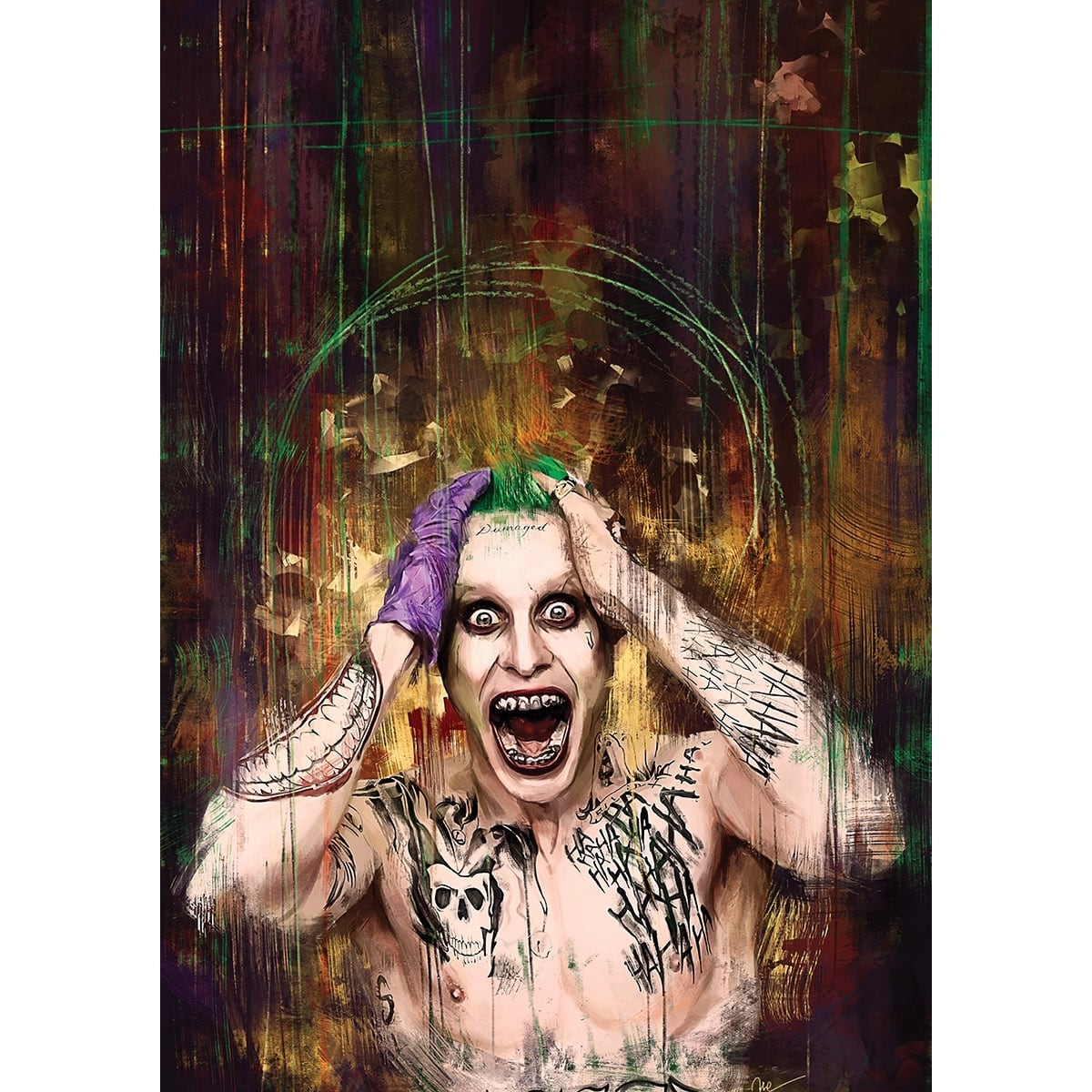 Modern canvas artist of the joker in a unique version decoration