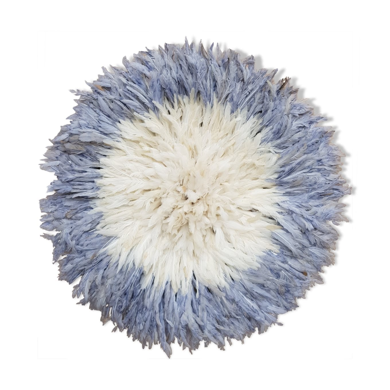 White and blue juju hat decoration for a ethnic interior
