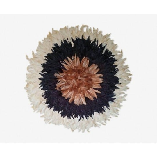Blue, white and beige juju hat for a multicolor and ethnic wall decoration