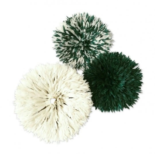 Green and white juju hat for a trendy and African wall decoration
