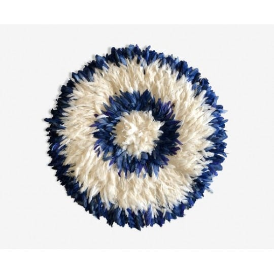 Blue and white juju hat for an african wall decoration