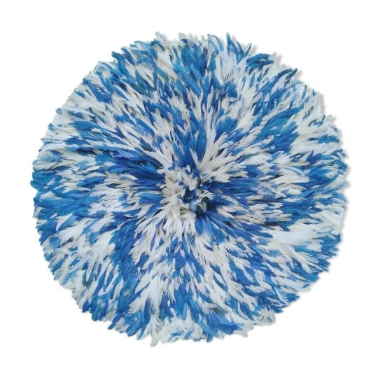 Blue and white juju hat for an africain wall decoration