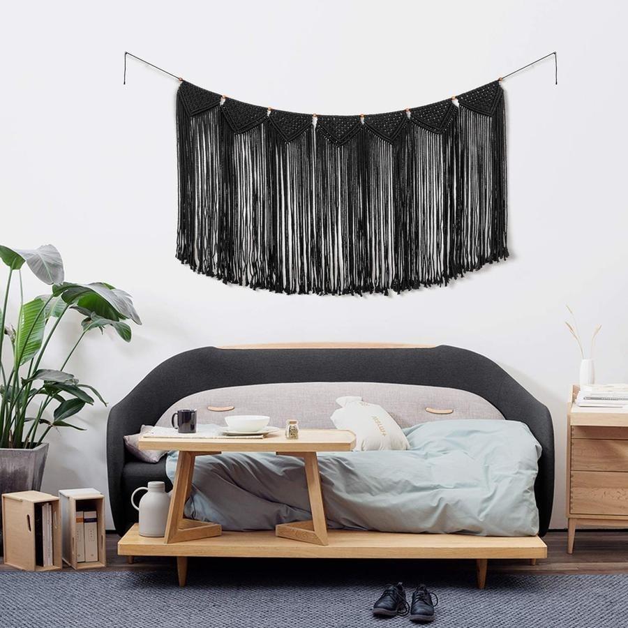 Black boho macrame for a wall design decoration