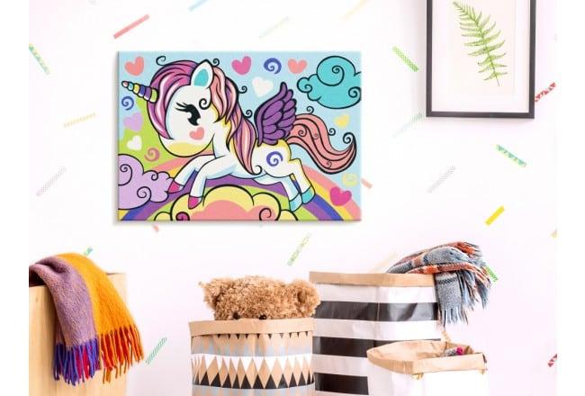 Peinture par numéros pour enfant de licornes multicolore pour leur déco murale de chambre