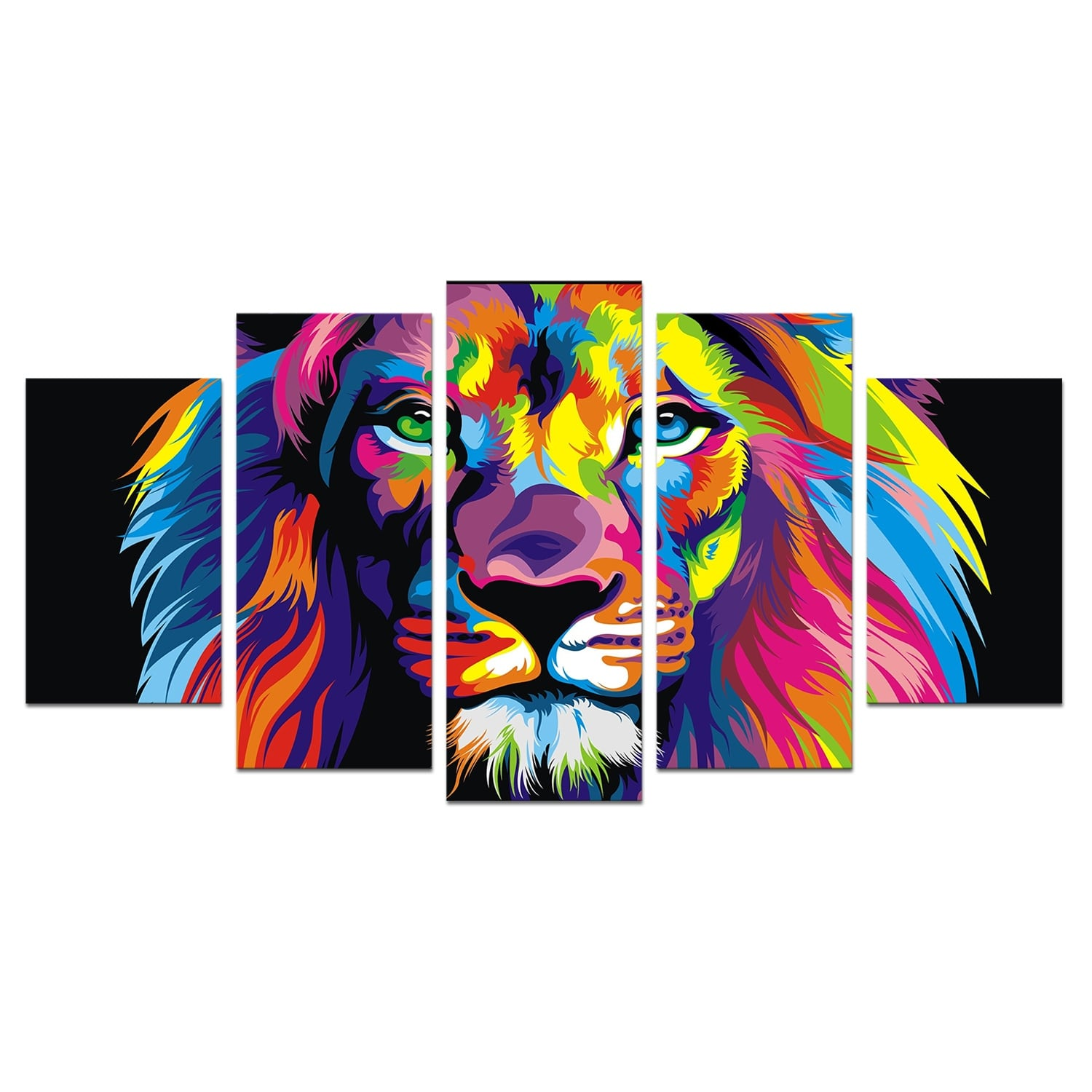 Modern lion canvas print for a colored wall decoration