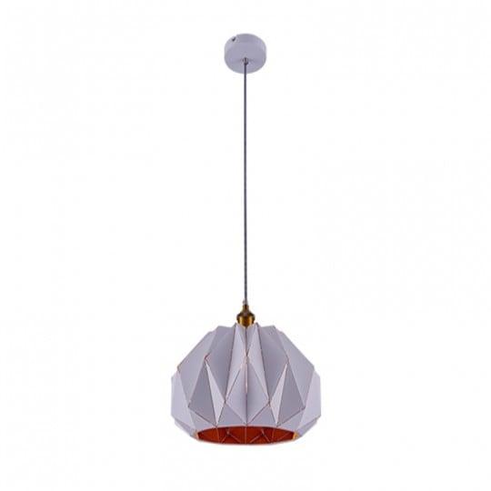 Luminaire suspendu blanc au style geometrique et en aluminium pour votre interieur