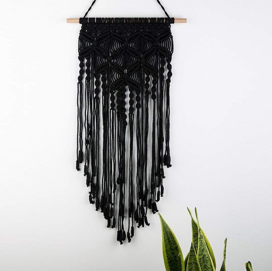 Black wall macrame for a bohemian design interior
