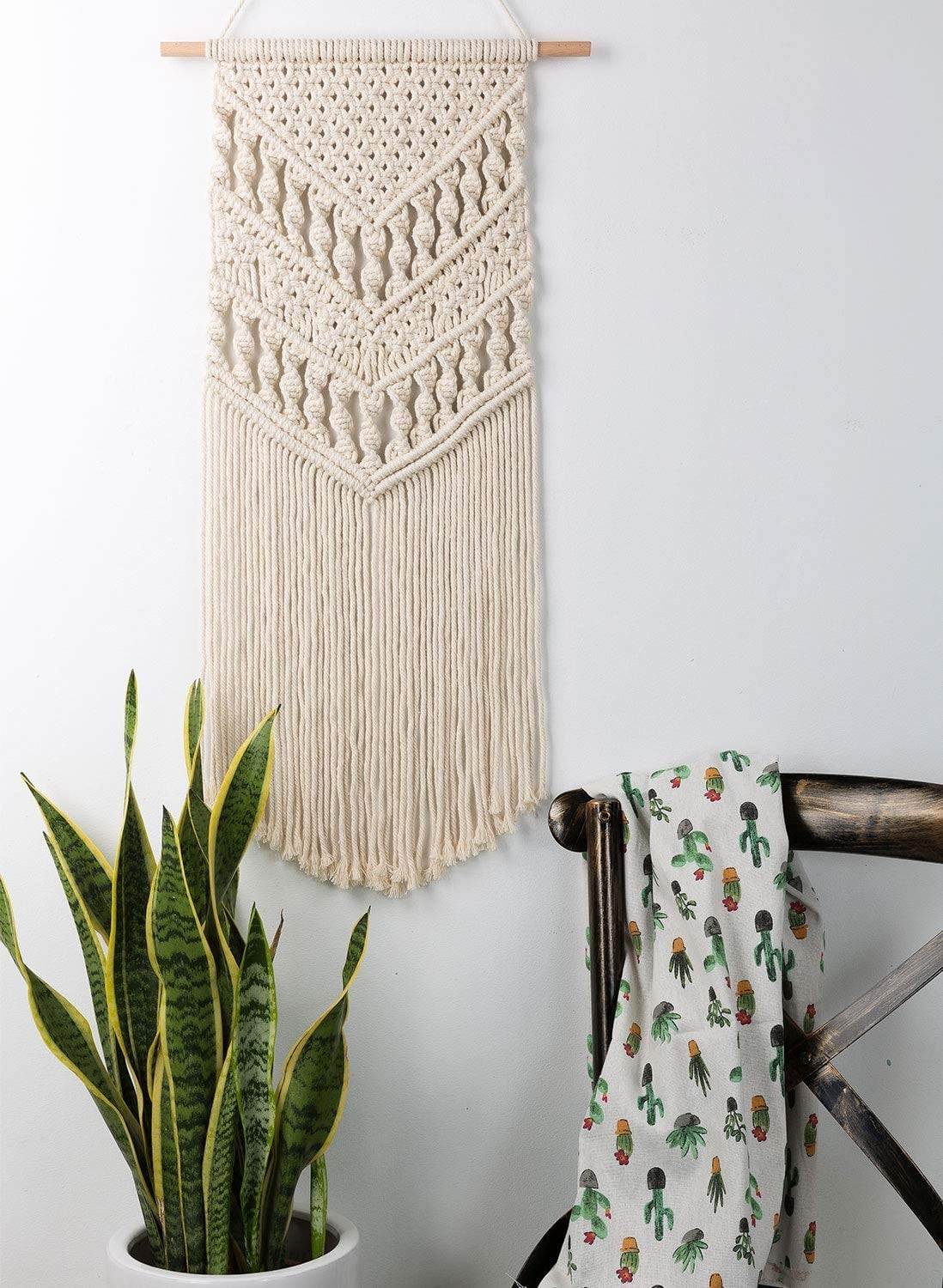 Beige boho macrame for a unique interior decoration