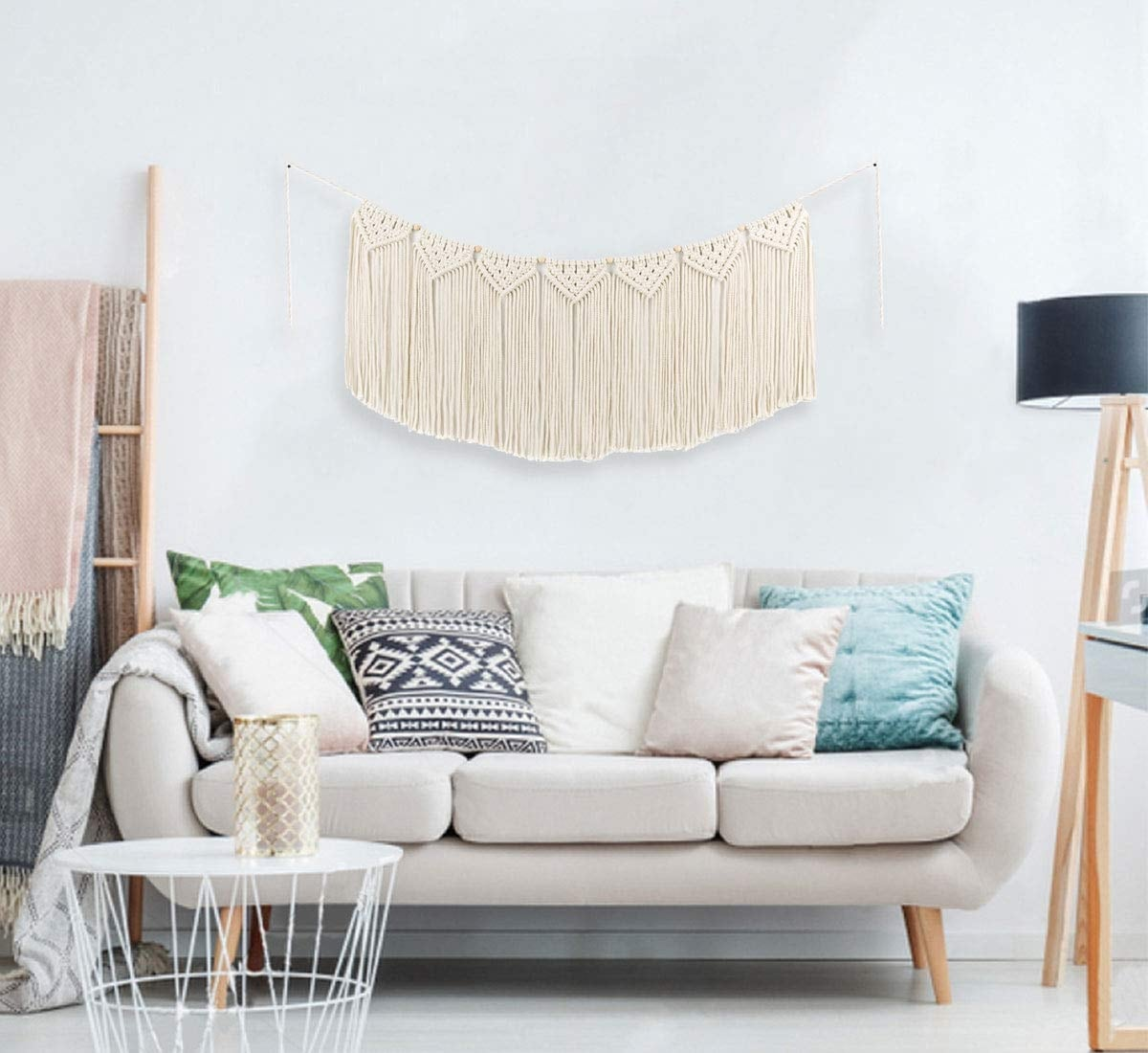 Long wall hanging macrame with a boho interior touch