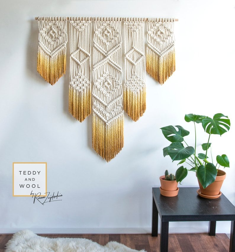 Wall big macrame for a boho decoration
