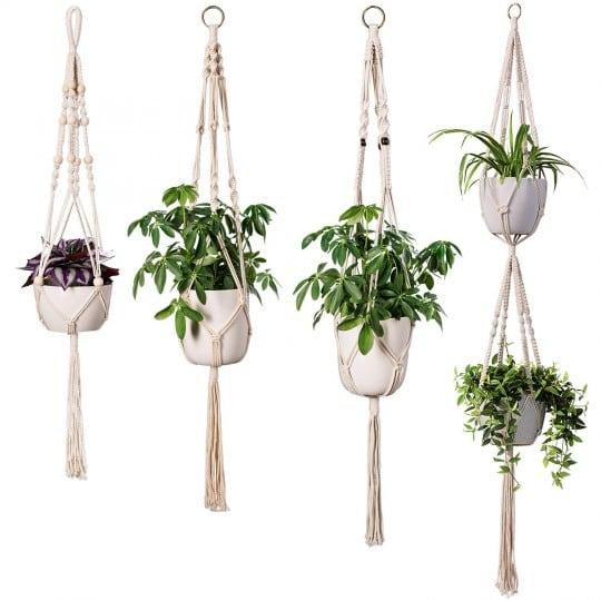 Macrame mural multiple plantes pour un intérieur nature et boho