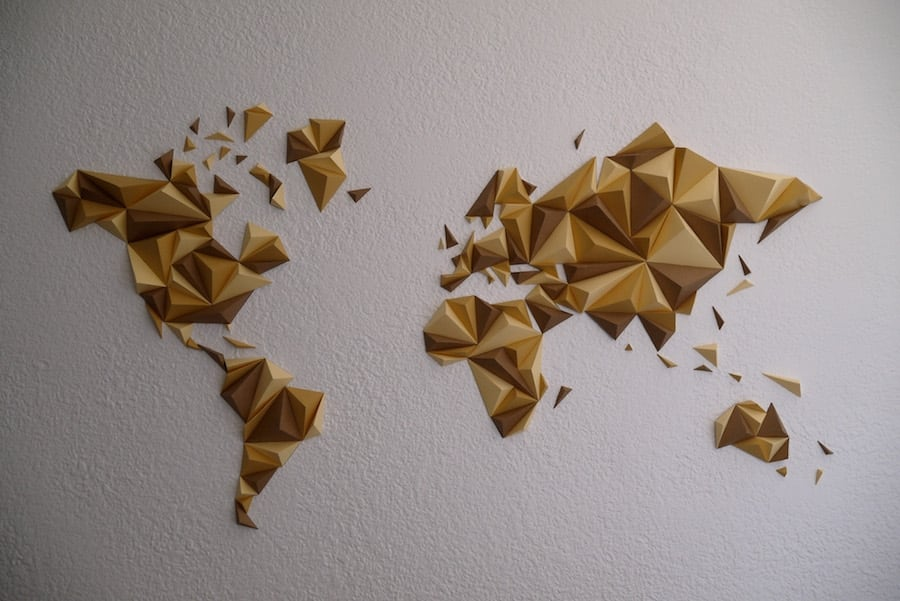 Automn paper world map decoration for design interior