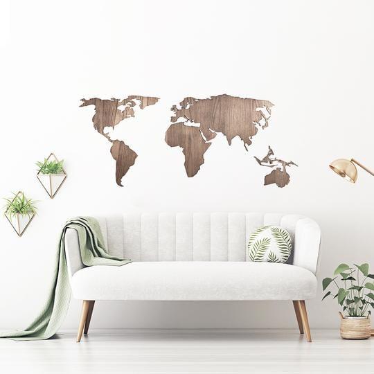 Carte du monde déco en bois naturel pour un intérieur moderne et design