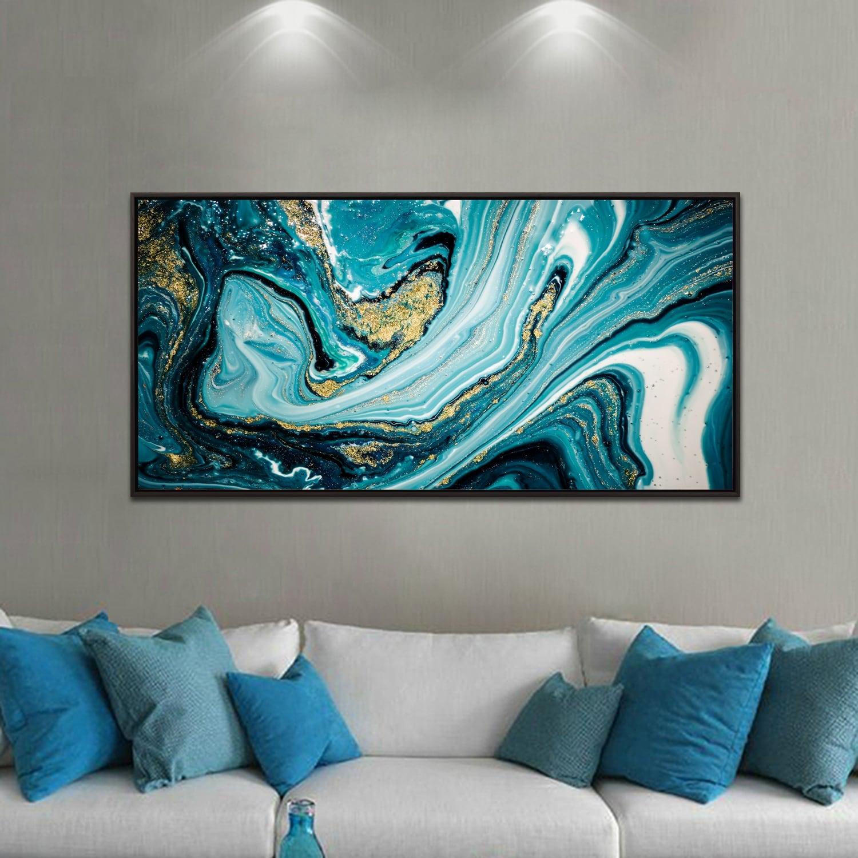 Toile abstrait marbre bleu et or pour une décoration murale originale